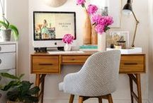 Study, Studio + Office Interiors and Decor / Your surroundings really do effect the way you work. Love these rooms of various styles. Home office, study, studio, work-space, work from home.