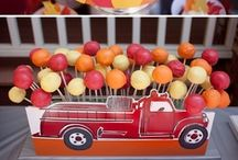 Firetruck Birthday Party   Ideas, Decorations and Inspiration / Firetruck party ideas, including party decorations, fire truck themed sweets and treats, printables and party activities.