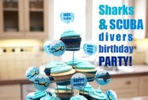Shark Birthday Party   Ideas, Decorations and Inspiration / Shark and Scuba birthday party ideas, including party decorations, shark and scuba themed sweets and treats, printables and party activities.