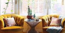 My Dream Option {M} Bohemian Living Room / Boho Chic with a modern spirit - loving copper, mustard, navy and white.