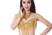 Belly Dance Dresses / multi-color belly dance Hip Scarves, waist chain belts with coins, translucent yarn top bras & pants, Belly Danc Skirt belly dance full set costume, child costume / by danzia.com