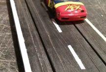 Slot Racing & HO Train Set / Building a slot racing/HO Train layout in the basement.