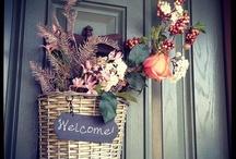 {welcome} front door / #front_door #wreaths #welcome / by Christine Erntsӧn