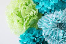 Pom Pom party / All sorts of pom poms - woolly, fabric, tissue paper