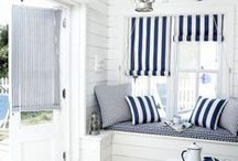 Nautical styling for the home / Nautical style for the home. Lots of blue, gold, rope and dreaming of life on and by the sea.