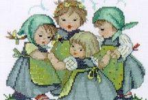Cross Stitch Children / Korsstingsmønstre med børn