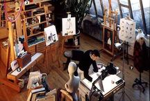 Art Happens Here / Artists, Processes, art in the making, pictures of artists working, Artists in their studios, Creative Spaces, Offices, Organization