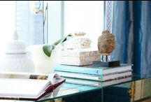 Showhouse Dressing Room at the W Hotel / Luxe fabrics in shades of light blue, Kelly Werstler silk carpet, antique gilded mirror and a gorgeous velvet pouf bring glamour to this chic room.  / by Hampton Hostess CG3 Interiors-Barbara Page Home