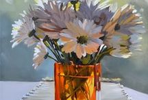 Flower Paintings / Original paintings for sale of flowers in oil paint and watercolor. Many paintings include clear and colored glass vases with flowers.