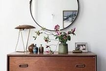 New home / Sarah and Lewin's first home decor inspiration board. Lots of boho greenery, curated treasures and natural texture. Think wood and neutral with pops of blue, greenery and an industrial edge.
