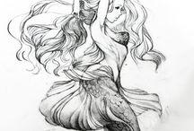 Tattoo - Mermaid/Predator / Right ribs. Swimming down. Tail up.