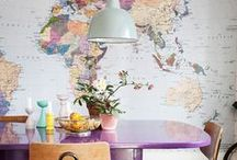 home | map + travel decor / DIY and decorating ideas involving maps, globes, and travel themes