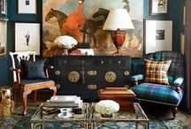    His Office    / My husband known as Mr. Wonderful works from home too.  I am always finding ways to spruce up his dark walled room office - we're going for an equestrian theme!  See more on my blog: http://www.dianaelizabethblog.com