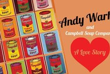 Pop Art / The art of Andy Warhol, featuring Campbell's tomato soup.