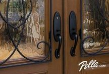 """Decorative window glass / Pella entry doors are a perfect way to say """"welcome."""" Our stylish, decorative glass patterns offer the distinctive design flexibility to complement your home. Explore the possibilities at Pella.com."""