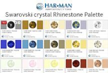 Swarovski crystal Rhinestone Palette / A full color palette of Swarovski crystal rhinestones. Shown in style 2088.  Add to mood boards, use in designing or just see what colors Swarovski crystals offers. All available for purchase on our website: www.harmanbeads.com.