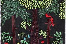 Woodland / Art and design with the theme, foxes, bears, deer, woods, woodland animals