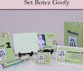 Set Botez Goofy / BebeStudio11 - Personalizam invitatii, marturii, plicuri de bani, meniuri, nr de masa pentru botez.
