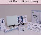 Set Botez Bugs Bunny / BebeStudio11 - Personalizam invitatii, marturii, plicuri de bani, meniuri, nr de masa pentru botez.