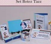 Set Botez Tazz / BebeStudio11 - Personalizam invitatii, marturii, plicuri de bani, meniuri, nr de masa pentru botez.