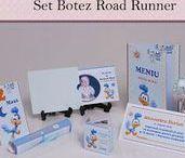 Set Botez Road Runner / BebeStudio11 - Personalizam invitatii, marturii, plicuri de bani, meniuri, nr de masa pentru botez.