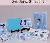 Set Botez Strumf 2 / BebeStudio11 - Personalizam invitatii, marturii, plicuri de bani, meniuri, nr de masa pentru botez.