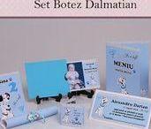 Set Botez Dalmatian / BebeStudio11 - Personalizam invitatii, marturii, plicuri de bani, meniuri, nr de masa pentru botez.