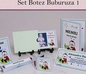 Set Botez Buburuza 1 / BebeStudio11 - Personalizam invitatii, marturii, plicuri de bani, meniuri, nr de masa pentru botez.
