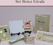 Set Botez Girafa / BebeStudio11 - Personalizam invitatii, marturii, plicuri de bani, meniuri, nr de masa pentru botez.