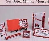 Set Botez Minnie Mouse 2 / BebeStudio11 - Personalizam invitatii, marturii, plicuri de bani, meniuri, nr de masa pentru botez.