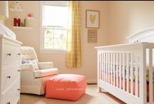 Baby Girl Nursery Ideas / Periwinkle, Gold, and Coral Baby Girl Nursery.