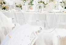 Color Palette: White on White / Go beyond a white bride with an all-white wedding. Mixing different shades and textures of white can make a dramatic statement.
