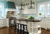 Blue Kitchen Ideas /  Love my blue kitchen. It is a joy to create in and helps me have a great attitude. It is a clean color and perfect for a dark space. I have posted the paint color that I chose. It is perfect!   / by Deana McGarr