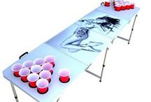 Beer Pong Tables with Holes / Sick of messy tables and spilt beer? We have a great selection of tables with pre-drilled holes so that the cups will never move or slide! Never spill beer or knock your cups over again! / by Skip's Garage