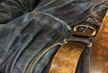 raw denim / real authentic, vintage and new dark indigo jeans, worn to a perfect shape. never washed. make your own dna.