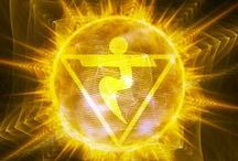 ༺༻ MANIPURA - I DO༺༻ / The Third Chakra: Solar Plexus.     Location: Central cavity of the lungs, just below the breastbone. Function: Root of our emotional balance, personal power and metabolic energy. When we feel upset, angry or hurt we often feel this chakra. It's primal essence is that of the Will.  Physically: Works on the stomach and liver area. Symptoms of a blocked 3rd Chakra may include Digestive difficulties, Liver problems, Diabetes, Nervous exhaustion and Food Allergies. COLOR: Yellow ELEMENT: Fire / by Claudia Drew-Parker