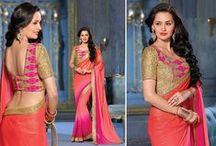 Designer Saree / Sari, Lehenga saree, designer bollywood replica saree collection from Indian Trendz.