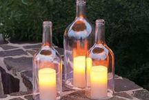 wine bottles, ideas, decorate, lanterns, windchimes / so many uses for used bottles, liquor, wine, any type