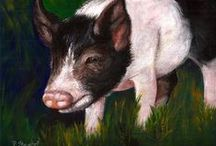 Penny Paints Pigs / Pigs are fun to paint, and these are some of my favorites.  Reference photos came from ironwoodpigs.org. The Ironwood Pig Sanctuary is dedicated to eliminating the suffering of pot bellied pigs in Arizona and surrounding states by promoting spaying and neutering, assisting owners and other sanctuaries, and providing a permanent home in a safe, nurturing environment for those that are abandoned, abused, neglected, or unwanted. They are home to almost 600 pot bellied pigs.  www.craftylady.com