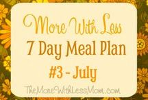 "More With Less Meal Plans / These ""More With Less"" Meal Plans are brilliant because not only do they have a shopping list, they also has tips to stretch your food, like saving scraps for stock and regrowing celery in water, and stretch your money, like baking your own bread. Just like grandma did. Brought to you by The More With Less Mom.  / by Melissa French: More With Less Mom & HousePunkery"
