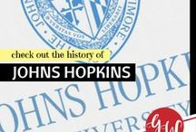 HISTORY: Johns Hopkins University / History board spotlighting Johns Hopkins University
