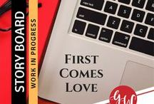 WIP: First Comes Love / Idea board for First Comes Love (book 2 Love in Time Series), featuring #characters, #settings, #oregontrail, and #reviews. | #Kansas #Oregon | #clean #contemporary #romance