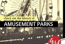 HISTORY: Amusement Parts / History board featuring amusement parks of the past, many now defunct.