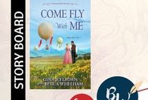 "BOOK: Come Fly With Me / Idea board for ""Come Fly with Me"" (A Montana Brides Novella, Kensington Publishing, 2017) by Gina Welborn and Becca Whitham, featuring #settings, #characters, #hotairballoons, and #reviews. 