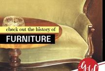 HISTORY: Furniture / History board spotlighting furniture, lamps, and home decorations.