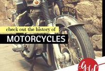 HISTORY: Motorcycles / History board featuring motorcycles, mopeds, and bicycles.