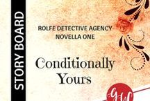 BOOK WIP: Conditionally Yours / Idea board for Conditionally Yours (novella 1, a Rolfe Detective Agency romance, Kensington Publishing), featuring characters, settings, edwardian courtship rituals, lady principal, and reviews. | 1906 Texas | #clean #historical #romance