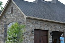 New Home Exterior Ideas / Exterior, brick, stone, siding, pathways, Trim, Doors, Garages, Landscaping