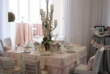 Vintage meets the Beach Table - WEDDING / Custom linens, flatware, glassware and china by Rentals Unlimited, Florals by Stoneblossom Floral & Event Design, Individual cakes by Confectionery Designs, Table design & menu cards by Donna Kim The Perfect Details.