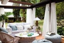 Home | Garden Living / Beautiful garden spaces featuring lots of pergolas and fairy lights.